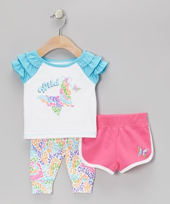 Turquoise Wild Nature Shorts Set - Toddler