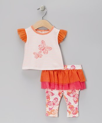 Orange Butterfly Ruffle Tunic & Skirted Leggings - Toddler