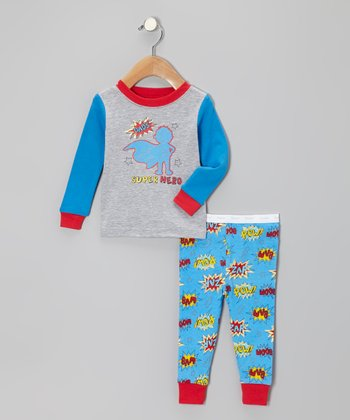 Blue 'Dad's Super Hero' Pajama Set - Infant & Toddler