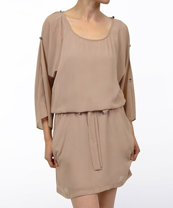 Taupe Tie-Waist Dress