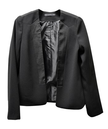 Black Satin-Trim Tuxedo Jacket