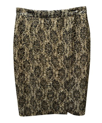 Black & Gold Lace Pencil Skirt