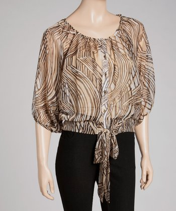 Taupe Abstract Tie-Waist Top