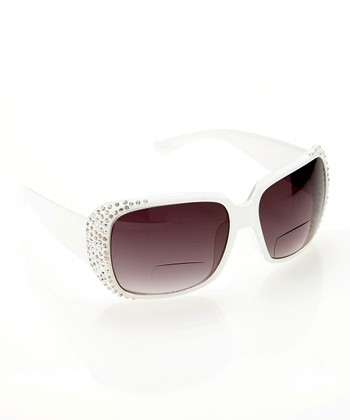 White Sparkle Wraparound Sun Readers