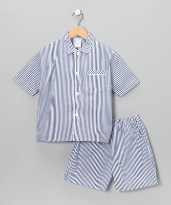 Blue Stripe Short-Sleeve Button-Up & Shorts - Boys