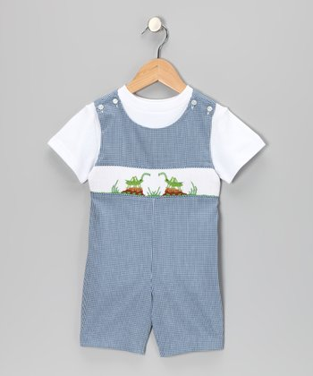 White Tee & Navy Gingham Cricket John Johns - Infant & Toddler