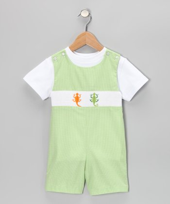 White Tee & Green Lizard John Johns - Infant & Toddler