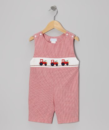 Red Micro Gingham Tractor John Johns - Infant & Toddler