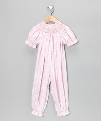 Light Pink Floral Smocked Playsuit - Infant