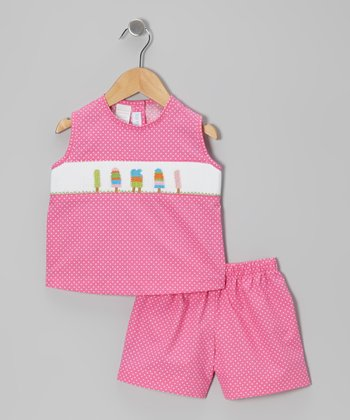 Hot Pink Popsicle Smocked Tank & Shorts - Infant & Toddler
