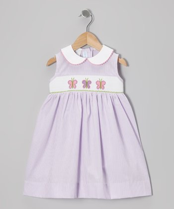 Purple Stripe Butterfly Smocked Dress - Infant, Toddler & Girls