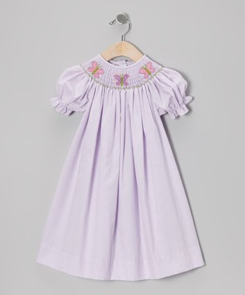 Purple Stripe Butterfly Bishop Dress - Infant & Toddler
