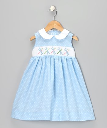 Blue Polka Dot Smocked Dragonfly Dress - Infant & Girls