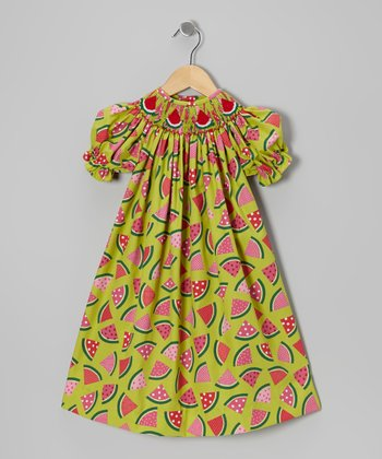 Green & Pink Watermelon Bishop Dress - Infant, Toddler & Girls