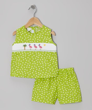 Lime Flamingo Smocked Tank & Shorts - Infant, Toddler & Girls