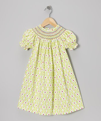 Green Geometric Flowers Bishop Dress - Infant, Toddler & Girls