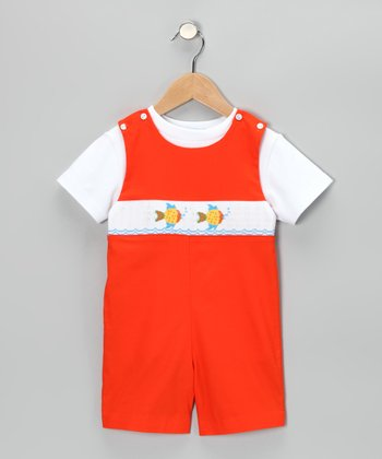 White Tee & Orange Fish John Johns - Infant & Toddler
