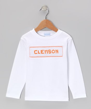 White 'Clemson' Smocked Tee - Infant, Toddler & Kids