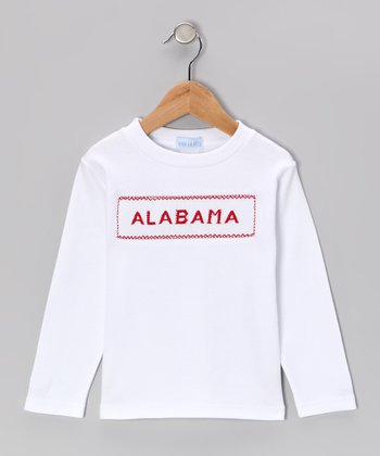 White & Red 'Alabama' Smocked Tee - Infant, Toddler & Kids