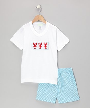 Blue & White Lobster Tee & Shorts - Infant, Toddler & Boys