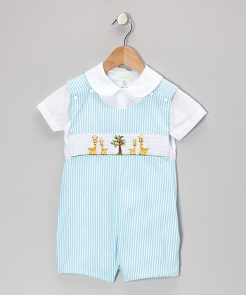 Aqua Stripe Giraffe Tee & John Johns - Infant & Toddler