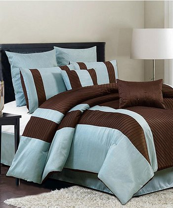 Blue & Brown Bali Queen Comforter Set
