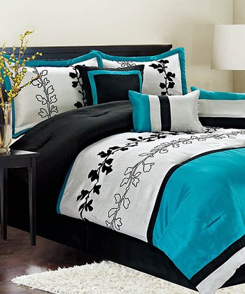 Teal Chadwick Queen Comforter Set