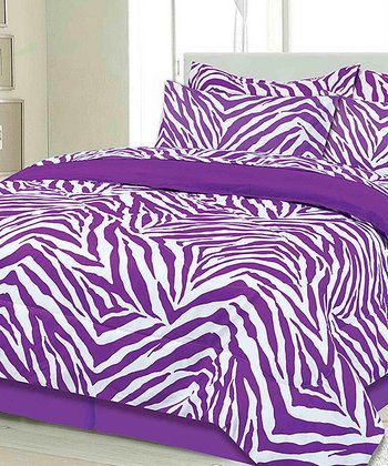 Purple Zebra Twin Bed-in-a-Bag Set