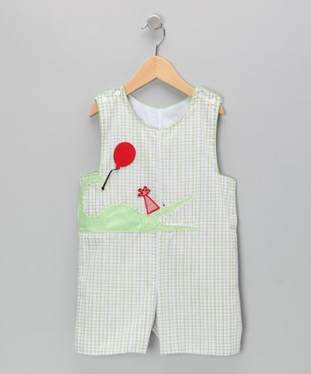 Green Alligator Shortalls - Infant & Toddler