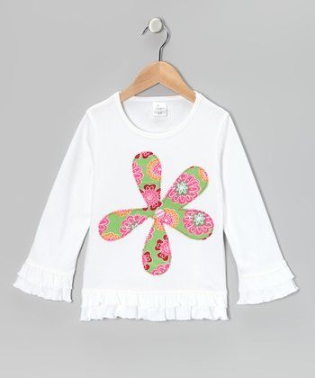 White Flower Ruffle Tunic - Infant