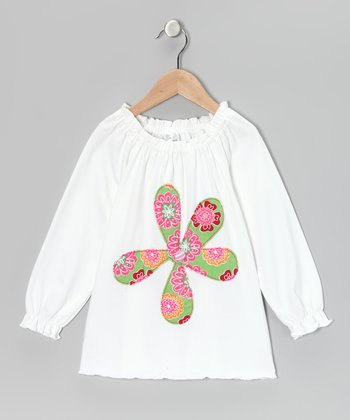 White Flower Peasant Tunic - Infant