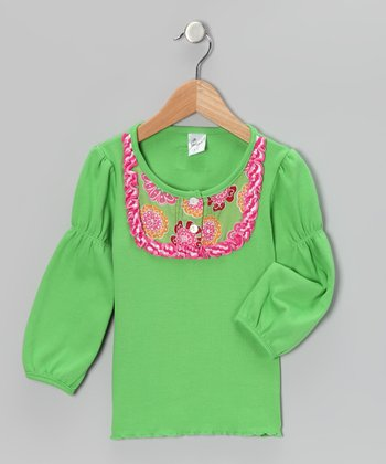 Lime & Pink Flower Bib Tee - Infant
