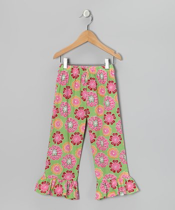 Green & Pink Floral Ruffle Pants - Infant, Toddler & Girls
