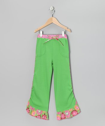 Green Ruffle Pants - Toddler & Girls