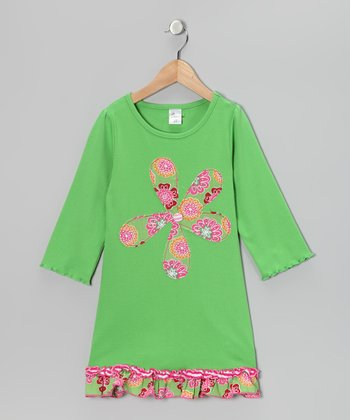 Green & Pink Flower Tunic - Girls
