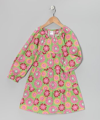 Green & Pink Floral Tiered Dress - Toddler