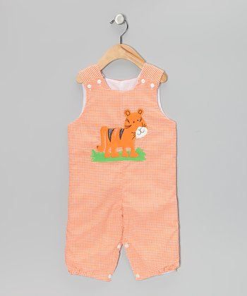 Orange Tiger Gingham Bubble Overalls - Toddler