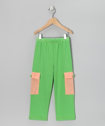 Lime & Orange Gingham Cargo Pants - Infant & Toddler
