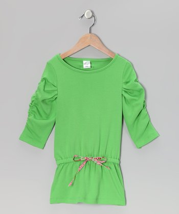 Green Drop-Waist Tunic - Toddler & Girls