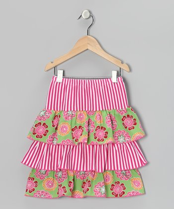 Lime Floral Ruffle Skirt - Toddler & Girls