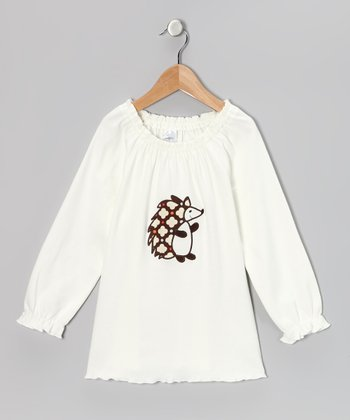 Cream Hedgehog Peasant Tunic - Infant, Toddler & Girls