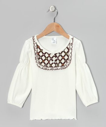 Cream & Brown Flower Bib Tee - Infant, Toddler & Girls