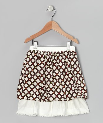 Brown & White Polka Dot Ruffle Skirt - Girls