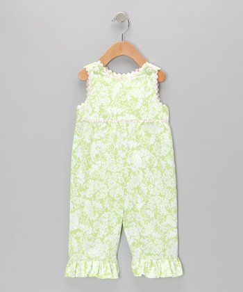 Green & Pink Damask Overalls - Infant