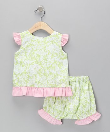 Green & Pink Damask Top & Ruffle Bloomers - Infant