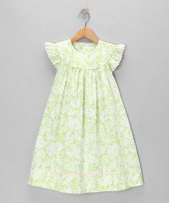 Green Damask Angel-Sleeve Dress - Infant, Toddler & Girls