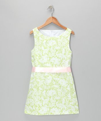 Green & White Shift Dress - Girls