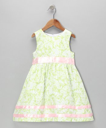 Green & Pink Damask A-Line Dress - Toddler & Girls