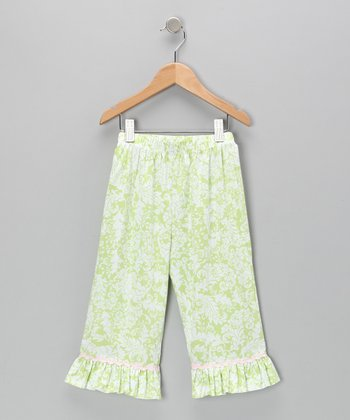 Green Damask Ruffle Capri Pants - Infant, Toddler & Girls