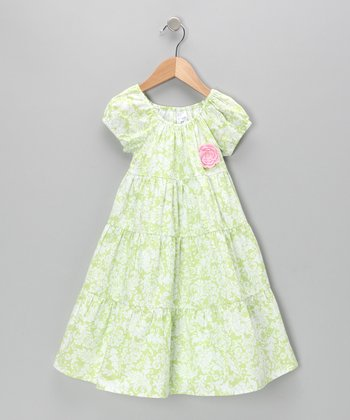 Green Damask Flower Peasant Dress - Toddler & Girls